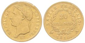 Premier Empire 1804-1814 20 Francs, Paris, 1810 A, grand coq, AU 6.45 g. Ref : G.1025, Fr. 516 PCGS AU53
