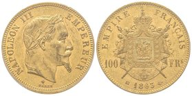 Second Empire 1852-1870  100 Francs, Strasbourg, 1863 BB, AU 32.25 g.  Ref : G.1136, Fr. 581  PCGS MS60 Quantité : 5078 ex. Rare.