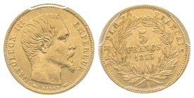 Second Empire 1852-1870 5 Francs, Paris, 1855 A, AU 1.61 g. Petit module Ref : G.1000 PCGS AU53
