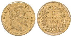 Second Empire 1852-1870 5 Francs tête laurée, Paris, 1866 A, AU 1.61 g. Ref : G.1002, Fr. 589 PCGS MS64