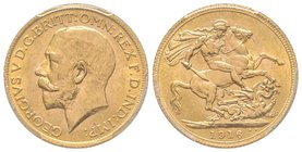 George V 1910-1936 Sovereign, 1916, AU 7.98 g. 917‰  Ref : KM#820, Fr.404a, Spink 3996 PCGS MS64