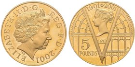 Elizabeth II - 5 Pounds Victorian Anniversary, 2001, AU 40 g. 917‰  Ref : Spink 4554 PCGS PROOF 67 DEEP CAMEO