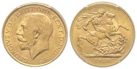 India, George V 1910-1936 Sovereign, Bombay, 1918, AU 7.98 g. 917‰ Ref : Fr. 1609, KM#525A  PCGS MS64+