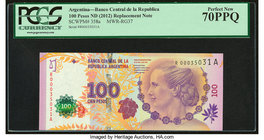 Argentina Banco Central 100 Pesos ND (2012) Pick 358a Commemorative Replacement PCGS Perfect New 70PPQ.   HID09801242017