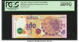 Argentina Banco Central 100 Pesos ND (2012) Pick 358a Commemorative PCGS Superb Gem New 68PPQ.   HID09801242017