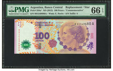 Argentina Banco Central 100 Pesos ND (2012) Pick 358a* Replacement PMG Gem Uncirculated 66 EPQ.   HID09801242017