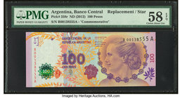 Argentina Banco Central 100 Pesos ND (2012) Pick 358r Commemorative Replacement PMG Choice About Unc 58 EPQ.   HID09801242017