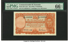 Australia Commonwealth Bank of Australia 10 Shillings ND (1942) Pick 25b R13 PMG Gem Uncirculated 66 EPQ.   HID09801242017