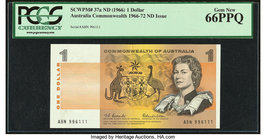 Australia Commonwealth of Australia Reserve Bank 1 Dollar ND 1966-72 Pick 37a R71 PCGS Gem New 66PPQ.   HID09801242017