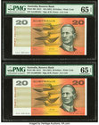 Australia Australia Reserve Bank 20 Dollars ND (1991) Pick 46h R413 Two Consecutive Examples PMG Gem Uncirculated 65 EPQ.   HID09801242017