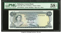 Bahamas Central Bank 10 Dollars 1974 Pick 38b PMG Choice About Unc 58 EPQ.   HID09801242017