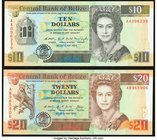 Belize Central Bank 10; 20 Dollars 1.5.1990 Pick 54; 55 Two Examples Crisp Uncirculated.   HID09801242017