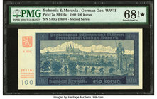 Bohemia & Moravia Protectorate of Bohemia and Moravia 100 Korun 1940 Pick 7a PMG Superb Gem Unc 68 EPQ S.   HID09801242017