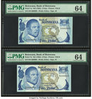 Botswana Bank of Botswana 2 Pula ND (1982) Pick 7a; 7b Two Examples PMG Choice Uncirculated 64 (2). Serials 800 and 900.   HID09801242017