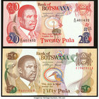 Botswana Bank of Botswana 20; 50 Pula ND (1993; 1992) Pick 13; 14 Crisp Uncirculated.   HID09801242017