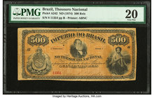 Brazil Thesouro Nacional 500 Reis ND (1874) Pick A242 PMG Very Fine 20. Tears.  HID09801242017