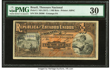 Brazil Thesouro Nacional 1 Mil Reis ND (1917) Pick 5 PMG Very Fine 30.   HID09801242017