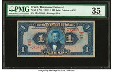Brazil Thesouro Nacional 1 Mil Reis ND (1919) Pick 6 PMG Choice Very Fine 35. Stains.  HID09801242017