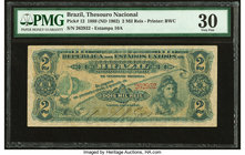 Brazil Thesouro Nacional 2 Mil Reis 1889 (ND 1902) Pick 12 PMG Very Fine 30.   HID09801242017