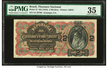 Brazil Thesouro Nacional 2 Mil Reis ND (1918) Pick 13 PMG Choice Very Fine 35. Annotation.  HID09801242017