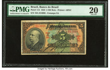 Brazil Banco do Brasil 5 Mil Reis 1923 Pick 113 PMG Very Fine 20. Rust.  HID09801242017
