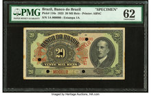 Brazil Banco do Brasil 20 Mil Reis 1923 Pick 116s Specimen PMG Uncirculated 62. Five POCs; stains.  HID09801242017