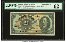 Brazil Banco do Brasil 20 Mil Reis 1923 Pick 117s Specimen PMG Uncirculated 62. Five POCs; minor stains.  HID09801242017