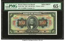 Brazil Banco do Brasil 100 Mil Reis 1923 Pick 120s Specimen PMG Gem Uncirculated 65 EPQ. Two POCs.  HID09801242017