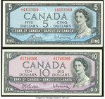 Canada Bank of Canada $5; $10 1954 BC-39c; 40b Two Examples Crisp Uncirculated.   HID09801242017