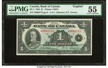 "Canada Bank of Canada $1 1935 BC-1 ""English"" PMG About Uncirculated 55. Minor ink.  HID09801242017"
