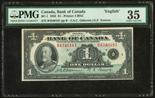 "Canada Bank of Canada $1 1935 BC-1 ""English"" PMG Choice Very Fine 35.   HID09801242017"