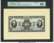 Canada Toronto, ON- Imperial Bank of Canada $10 1933 Ch.# 375-20-04aFP Front Proof And Archival Two Vignettes PMG Superb Gem Unc 68 EPQ.   HID09801242...