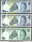 Cayman Islands Currency Board 1 (2); 5 Dollars L. 1971 L. 1974 (2) Pick 1a; 5a; 6a Three Examples Crisp Uncirculated.   HID09801242017