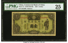 China Commercial Bank of China 1 Dollar 1929 Pick 11c S/M#C293-60c PMG Very Fine 25.   HID09801242017