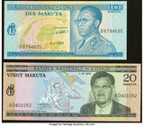 Congo, Democratic Republic Banque Nationale du Congo 10; 20 Makuta 1967; 1970 Pick 9; 10 Two Examples About Uncirculated; Crisp Uncirculated.   HID098...