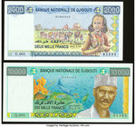 Djibouti Banque Nationale 2000; 10,000 Francs ND (1997; 1999) Pick 40; 41 Two Examples Crisp Uncirculated.   HID09801242017
