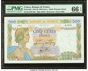 France Banque de France 500 Francs 9.4.1942 Pick 95b PMG Gem Uncirculated 66 EPQ.   HID09801242017