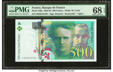 France Banque de France 500 Francs 1994-95 Pick 160a PMG Superb Gem Unc 68 EPQ.   HID09801242017