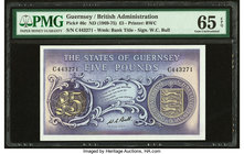 Guernsey States of Guernsey 5 Pounds ND (1969-75) Pick 46c PMG Gem Uncirculated 65 EPQ.   HID09801242017