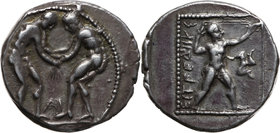 Greece, Pamphylia, Aspendos, Stater 385-370 BC, wrestlers