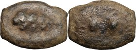 Greek Italy. Uncertain Umbria or Etruria. AE Cast Sextans, 225-213 BC. D/ Club. R/ Two pellets. HN Italy 54. Vecchi ICC 199. AE. g. 17.01 mm. 30.00 Br...