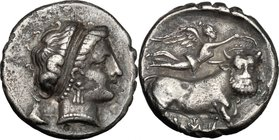 Greek Italy. Central and Southern Campania, Neapolis. AR Stater, 300-260 BC. D/ Head of nymph right. R/ Man-headed bull advancing right; above, Nike f...