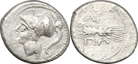 Greek Italy. Northern Apulia, Arpi. AR Diobol, 215-212 BC. D/ Head of Athena left, helmeted. R/ Two barley-ears conjoined. HN Italy 647. AR. g. 1.26 m...