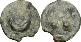 Greek Italy. Northern Apulia, Luceria. Cast AE reduced Semuncia, 217-212 BC. D/ Crescent. R/ Thyrsos with fillets. HN Italy 677 f. Vecchi ICC 350. AE....