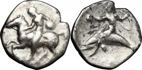 Greek Italy. Southern Apulia, Tarentum. AR Nomos, 425-380 BC. D/ Horseman left, dismounting, carrying shield. R/ Phalantos riding on dolphin left, hol...