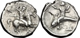 Greek Italy. Southern Apulia, Tarentum. AR Nomos, 332-302 BC. Evans period V. D/ Armed horseman galloping right, spearing downwards. R/ Dolphin rider ...
