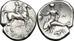 Greek Italy. Southern Apulia, Tarentum. AR Nomos, 272-240 BC. D/ Horseman right, crowning his horse. R/ Phalantos riding on dolphin left, holding bunc...