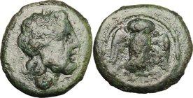 Greek Italy. Northern Lucania, Velia. AE 14mm, 4th-2nd century BC. D/ Head of Zeus right, laureate. R/ Owl standing facing, wings open. HN Italy 1326....