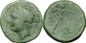 Greek Italy. Southern Lucania, The Lucanians. AE Half Unit, 209-207 BC. D/ Head of Nike left, diademed. R/ Zeus striding right, hurling thunderbolt an...