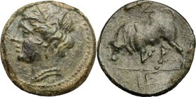 Greek Italy. Southern Lucania, Thurium. AE 17mm, 3rd century BC. D/ Head of Demeter left, wearing wreath. R/ Bull charging left. HN Italy 1932. AE. g....